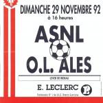 Affiche Nancy-Ales saison 92/93