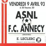 Affiche Nancy-Annecy - Saison 1992-1993 - D2 (29e j., 09/04/1992)
