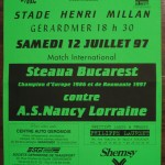 Affiche Nancy-Steaua Bucarest - Saison 1997-1998 - Match amical (Gérardmer, 12/07/1997)