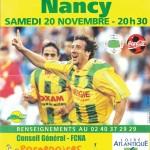 Affiche Nantes-Nancy - Saison 1999-2000 - D1 (16e j., 20/11/1999)