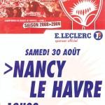 Affiche Nancy-Le Havre - Saison 2008-2009 - L1 (4e j., 30/08/2008)