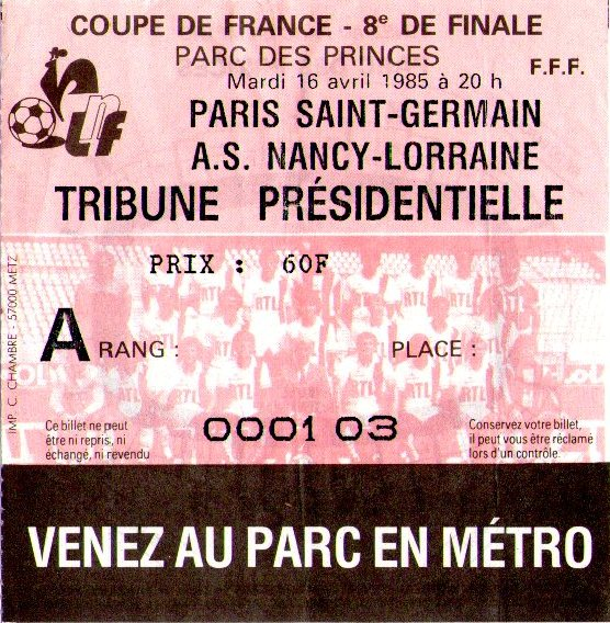Billets des ann es 1980 - Billet finale coupe de france ...