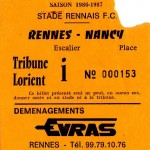 Billet Rennes-Nancy - Saison 1986-1987 - D1 (j. 10, 20/09/1986)