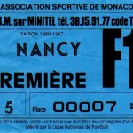 Billet Monaco-Nancy - Saison 1986-1987 - D1 (j. 17, 12/11/1986)