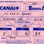 Billet RC Paris-Nancy - Saison 1986-1987 - D1 (23e j., 20/12/1986)
