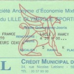 Billet Lille-Nancy - Saison 1989-1990 - Coupe de France (16e de finale, 10/03/1990)