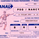 Billet Paris SG-Nancy - Saison 1990-1991 - D1 (1re j., 21/07/1990)