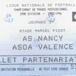 Billet Nancy-Valence - Saison 1995-1996 - D2 (37e j., 24/04/1996)