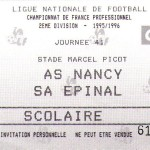 Billet Nancy-Épinal - Saison 1995-1996 - D2 (41e j., 17/05/1996)