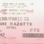 Billet Nancy-Paris SG - Saison 1996-1997 - D1 (3e j., 23/08/1996)