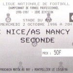 Billet Nice-Nancy - Saison 1996-1997 - D1 (10e j., 02/10/1996)