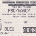 Billet Paris SG-Nancy - Saison 1996-1997 - D1 (21e j., 06/12/1996)