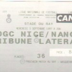 Billet Nice-Nancy - Saison 1997-1998 - D2 (7e j., 03/09/1997)