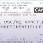 Billet Lille-Nancy - Saison 1997-1998 - D2 (11e j., 24/09/1997)