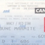 Billet Nancy-Red Star - Saison 1997-1998 - D2 (35e j., 24/03/1998)
