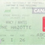 Billet Nancy-Nantes - Saison 1998-1999 - D1 (3e j., 23/08/1998)