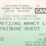 Billet Metz-Nancy - Saison 1998-1999 - D1 (8e j., 04/10/1998)