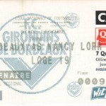 Billet Bordeaux-Nancy - Saison 1998-1999 - D1 (10e j., 25/10/1998)