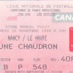 Billet Nancy-Le Havre - Saison 1998-1999 - D1 (15e j., 20/11/1998)
