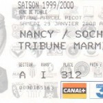 Billet Nancy-Sochaux - Saison 1999-2000 - Coupe de la Ligue (8e de finale, 29/01/2000, match reporté)