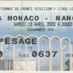 Billet Monaco-Nancy - Saison 1999-2000 - D1 (31e j., 15/04/200)