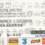 Billet Nancy-Sochaux - Saison 2000-2001 - Coupe de la Ligue (1er tour, 01/11/2000)