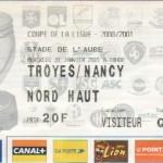 Billet Troyes-Nancy - Saison 2000-2001 - Coupe de la Ligue (8e de finale, 31/01/2001)
