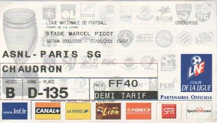 Billets des saisons 2000 - Vente billet finale coupe de la ligue ...