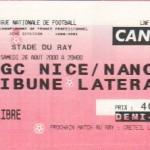 Billet Nice-Nancy - Saison 2000-2001 - D2 (5e j., 26/08/2000)