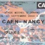 Billet Caen-Nancy - Saison 2000-2001 - D2 (7e j., 01/09/2000)