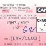 Billet Cannes-Nancy - Saison 2000-2001 - D2 (9e j., 09/09/2000)