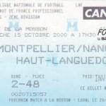 Billet Montpellier-Nancy - Saison 2000-2001 - D2 (15e j., 15/10/2000)