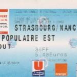 Billet Strasbourg-Nancy - Saison 2001-2002 - D2 (9e j., 23/09/2001)
