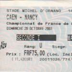 Billet Caen-Nancy - Saison 2001-2002 - D2 (14e j., 28/10/2001) exemplaire 2