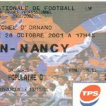 Billet Caen-Nancy - Saison 2001-2002 - D2 (14e j., 28/10/2001) exemplaire 1