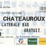 Billet Nancy-Châteauroux - Saison 2002-2003 - Coupe de la Ligue (tour préliminaire, 2e match, 10/12/2002)