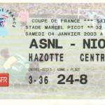 Billet Nancy-Niort - Saison 2002-2003 - Coupe de France (32e de finale, 04/01/2003)