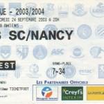 Billet Amiens-Nancy - Saison 2003-2004 - Coupe de la Ligue (1er tour, 24/09/2003)