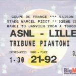 Billet Nancy-Lille - Saison 2003-2004 - Coupe de France (32e de finale, 13/01/2004)