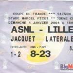 Billet Nancy-Lille - Saison 2003-2004 - Coupe de France (32e de finale, 04/01/2004, reporté)