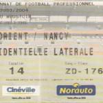 Billet Lorient-Nancy - Saison 2003-2004 - L2 (4e j., 19/08/2003)