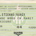 Billet St-Étienne-Nancy - Saison 2003-2004 - L2 (20e j., 10/01/2004)