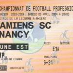 Billet Amiens-Nancy - Saison 2003-2004 - L2 (31e j., 03/04/2004)