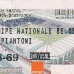 Billet Nancy-Belgique A' - Saison 2003-2004 - Match amical (16/03/2004)