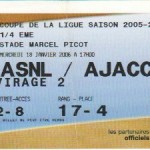 Billet Nancy-Ajaccio - Saison 2005-2006 - Coupe de la Ligue (1/4 de finale, 18/01/2006)