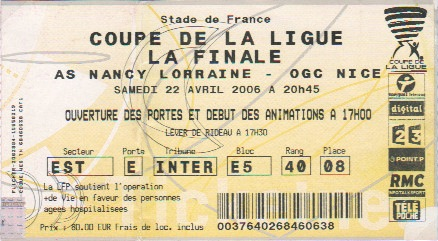 Coupe de la ligue 2005 2006 - Billets finale coupe de france ...