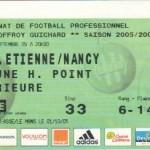 Billet St-Étienne-Nancy - Saison 2005-2006 - L1 (8e j., 21/09/2005)