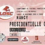 Billet Lille-Nancy - Saison 2005-2006 - L1 (16e j., 26/11/2005)