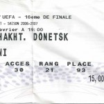 Billet Nancy-Shakhtar Donetsk - Saison 2006-2007 - Coupe UEFA (16e de finale retour, 22/02/2007)