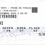 Billet Nancy-Feyenoord - Saison 2006-2007 - Coupe UEFA (match de poule #3, 30/11/2006)
